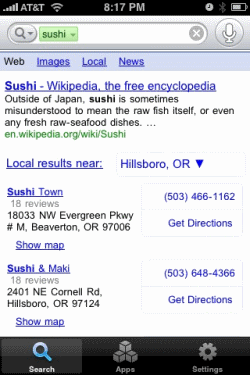 google mobile app sushi Neue Features für Google IPhone App
