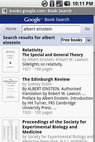 einstein Google Book Search ab sofort auch mobil
