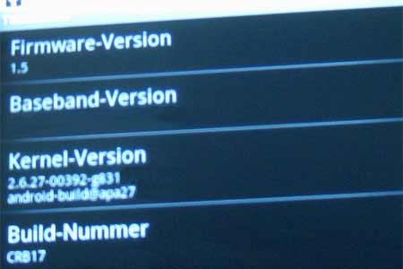 firmware 1 5 Android Cupcake Update manuell durchführen