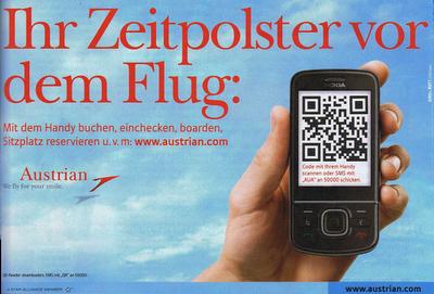 austrian kampagne Mobile Tagging Kampagne der Austrian Airlines